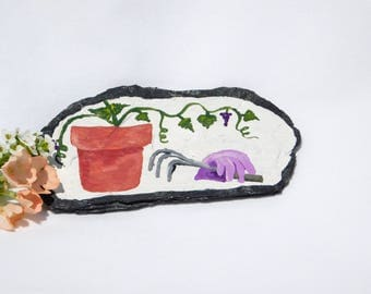 Garden Magnet, Hand Painted Magnet, Flower Pot, Garden Tools, Decorative Slate, Fridge Magnet, Office Magnet, Miniature Art, Grape Vine