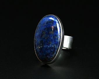 Size 9 Lapis lazuli Ring Lapis Ring Lapis lazuli Statement Ring Sterling Silver Lapis lazuli Ring Blue Lapis lazuli Ring Free shipping