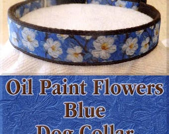 Oil Painted Flowers Beautiful Floral On Blue Background Designer Exclusive Dog Collar