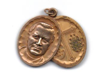 Saint Pius 4 image slider medal, St Pius, Catholic, patron of first communicants and religious pilgrims, 4 way cross, Miracluous Medal