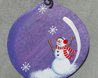 Ball Ornament with Snowman/Party Favor/Gift Tag -- OBB7
