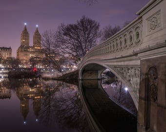 Purple Bow Bridge at Night - Central Park Reflection  - New York City Dream - New York City Photography