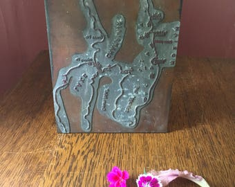 "RARE- Vintage Letterpress Printer's Block/ Printing Plate- Lake Champlain ""Champ"" Sightings- Sea Monster Sigtings- Cryptozoology"