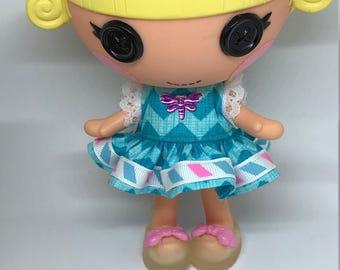 Handmade Dress for Lalaloopsy Little Doll // Little Sister // Doll Clothes // Stocking Stuffer // Under 10 // For Girls // Blue Chevron