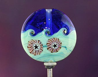 Beach Treasures Handmade Lampworked Glass Bead OOAK Blue Green Purple Black Murrini Lentil Focal Lampwork