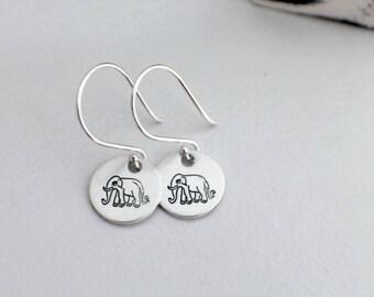 Elephant Earrings - Hand Stamped Earrings - Elephant Stamped Earrings - Elephant Dangle Earrings - Elephant Jewelry Gifts under 25