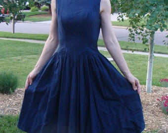 NAVY BLUE new look DRESS nipped waist full skirt S 26.5 waist