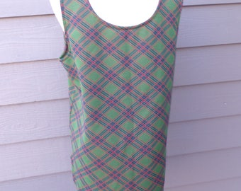 PLAID TANK TOP vintage green and red tartan xl 43 bust
