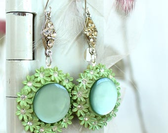 Cool Mint Julep green daisies assemblage earrings celluloid and rhinestone vintage antique clip on repurposed  cycled flowers spring summer