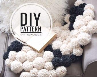 DIY Pattern | Pom Rug Throw Home Decor / Chunky Knit Pom Cloud Ball Puffy Mat / Cozy Home Decor Item