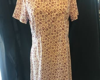 Vintage 1960 Creme with Purple pattern dress medium large