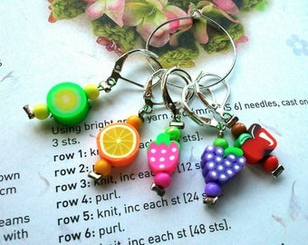 5 Crochet stitch markers Funky Fruits