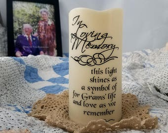 Personalized memorial gift - Grams memory - Sympathy gift - LED candle - flameless candle - In grandparents memory - In Loving Memory