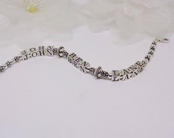 Mother's Day Gift For Mom Family Name Bracelet Family Bracelet Personalized Name Bracelet 925 Sterling Silver Bracelet Buyany3+get1 Free