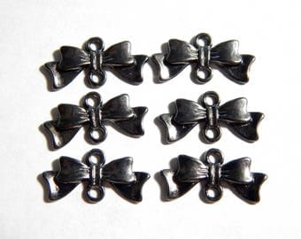 20x10mm Gunmetal Bow Connectors - Jewelry Finding Bowtie Charm Links, 6 PC (INDOC9)