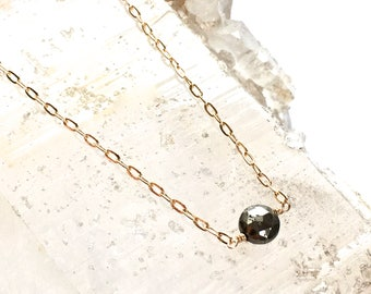 Tiny Pyrite Dot Necklace -Petite style -Pyrite and Gold-Two Tone Necklace