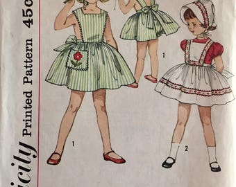 Vintage 1950s Simplicity Girls' Pinafore Sundress Bonnet Pattern 4497 Size 5