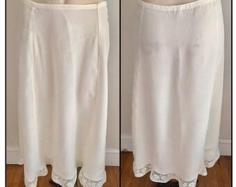 Vintage 1920s 30s Women's Ivory Half Slip Skirt 4 6