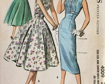 "Vintage 1957 McCall's Misses' Dress Pattern 4009 Size 12 (32"" Bust)"