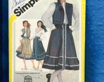 Vintage 1980's Simplicity 5191 Gunne Sax Western Blouse Vest & Front Button Skirt Size 12 UNCUT