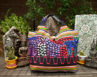 Tribal Tote Bag, Vintage Textile Bag, Embroidered Textile Bag, Tribal Textile Hand Made Bag, Woven Fabric Tote Bag