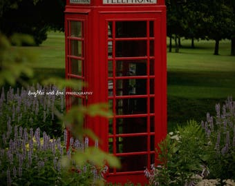 Red Telephone Booth Photo, British Phone Box Photography, Travel Picture, Red Tardis, Mackinac Island, Office Decor, Home Decor Wall Art