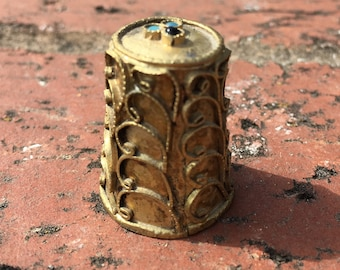 "Vintage 70's   ""BRASS WIRED THIMBLE"" with 3 Gemstones on Top of Thimble"