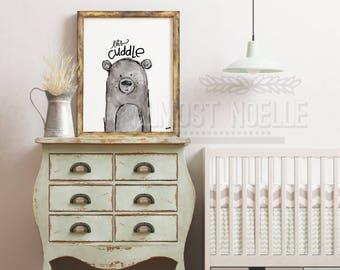 Let's Cuddle Bear Art Print Watercolor