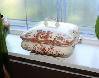 Antique Soup Tureen Brown Transferware Ironstone Covered Dish 1800s