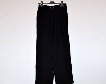 Vintage Duk Black Linen Summer Pants Boyfriend Trousers
