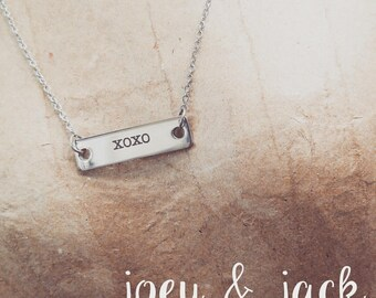 """Stainless steel, word-bar, layering necklace. 16"""" or 18"""""""