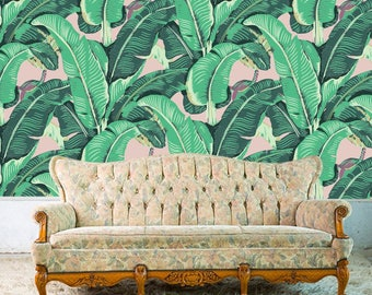 BANANA LEAF Removable Wallpaper-  Just Peel and Stick!  Self- Adhesive Fabric - Repositionable - Reusable! GORGEOUS