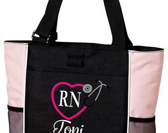 Nurse Tote, Monogrammed Nurse Bag, Stethoscope Heart Monogram, Embroidered RN Tote, RN Monogram, Stethoscope Monogram Tote