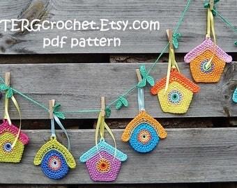Crochet pattern BIRDHOUSE GARLAND by ATERGcrochet