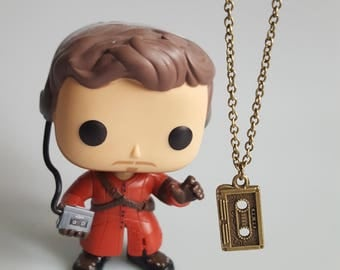 Star Lord Cassette Tape Charm Necklace, Guardians of the Galaxy, Charm Necklace, Superhero, Handmade Silver Charm Necklace, Gift