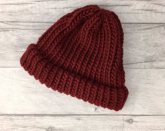 Red 'wine' knitted hat, beanie hat, gifts for husband, woollen hat, mens accessories, etsyuk, burgundy hat, useful gifts, outdoor gifts