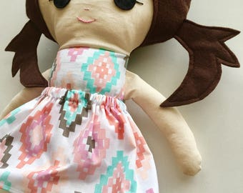 "Ready To Ship Handmade Doll - 18"" Handmade Girl Doll - Girl Doll - Brunette Doll with Pigtails - Birthday Gift"
