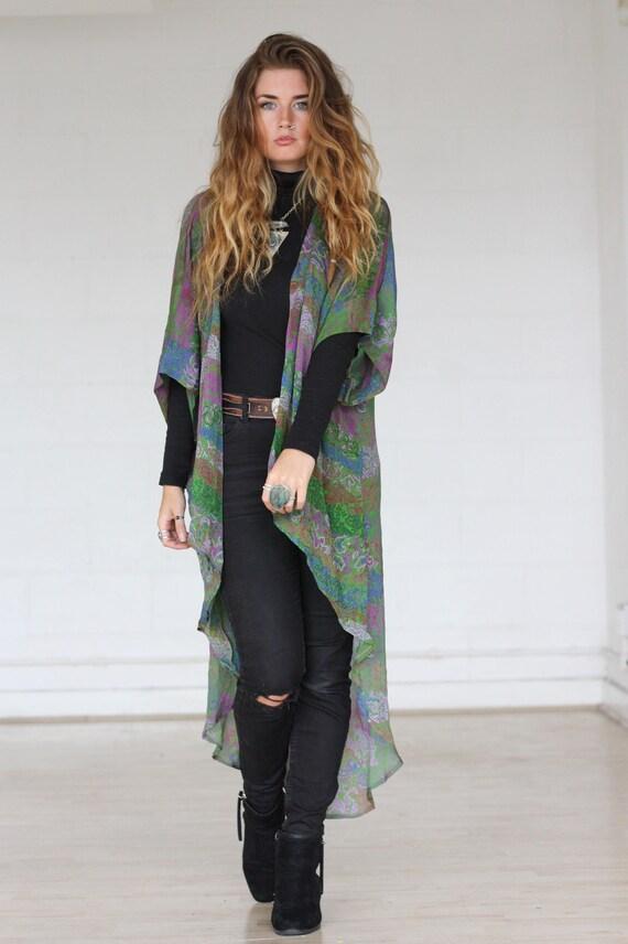 STEVIE WATERFALL KIMONO - Silk Cardigan - Cover Up - Bohemian Kimono - Christmas - Kaftan - Waterfall kimono - Bespoke - 100% silk - Sale