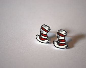 Cat In The Hat Studs -- Tiny Earrings, Dr. Seuss Cat In the Hat, Red and Black, Dr. Seuss Earrings, Silver