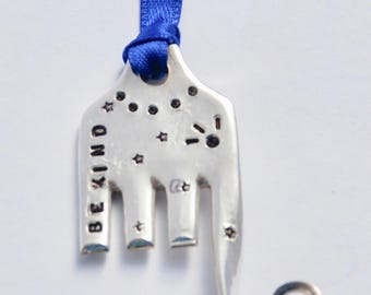 ELEPHANT ORNAMENT  stamped Be Kind // with Stars and Eyelashes // made from Vintage Fork