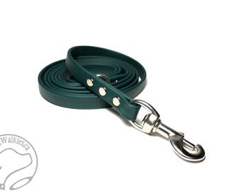 "NEW - Pine Green Biothane Dog Leash - 5/8"" (16mm) Wide - Stainless Steel or Brass Hardware - Custom Length 4ft, 5ft or 6ft (1.2m,1.5m,1.8m)"