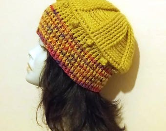Crochet Boho Hat, Crocheted Hat, Ribbed Hat, Textured Hat, Crochet Beret, FREE UK DELIVERY