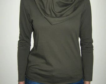 Olive Green Jersey Top, Cotton Jersey Top, Cowl Neck Top