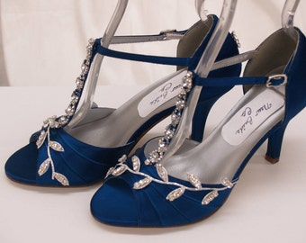Blue Wedding Shoes Royal Blue with Silver Swarovski Crystals, peep toe, covered heel ankle strap, hand dyed satin, bling , satin heels