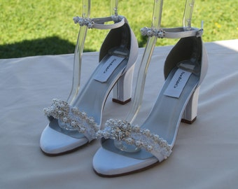 Wedding White Shoes Are Deco thick heels Pearls Trimmed, Satin Peep Toe square heels, 2 1/2 inch heels, Ready to Ship Size 8, Bling Style