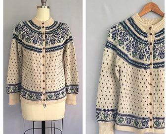 Fair Isle cardigan // 1950s Norwegian folk sweater // vintage 50s hand knitted cardigan