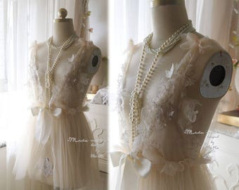 Romantic Fairy Tunic beige Lace Tulle Applique Bridal Wedding Lingerie Dress Nightgown Slip Sheer Dreamy Women's Beach Coverup Sheer Shabby