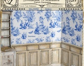 DOLLHOUSE Wallpaper French Toile w/ White washed Wood Panels Printable Download Decorative molding Digital Sheet Pastoral Pattern Blue 264