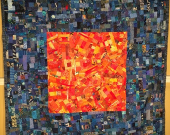 Art Quilt in Blue Hues and Oranges//Modern Art Quilt Wall Hanging