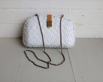 Vintage woven wicker bag, white woven purse evening bag, 1970s 70s wicker bag